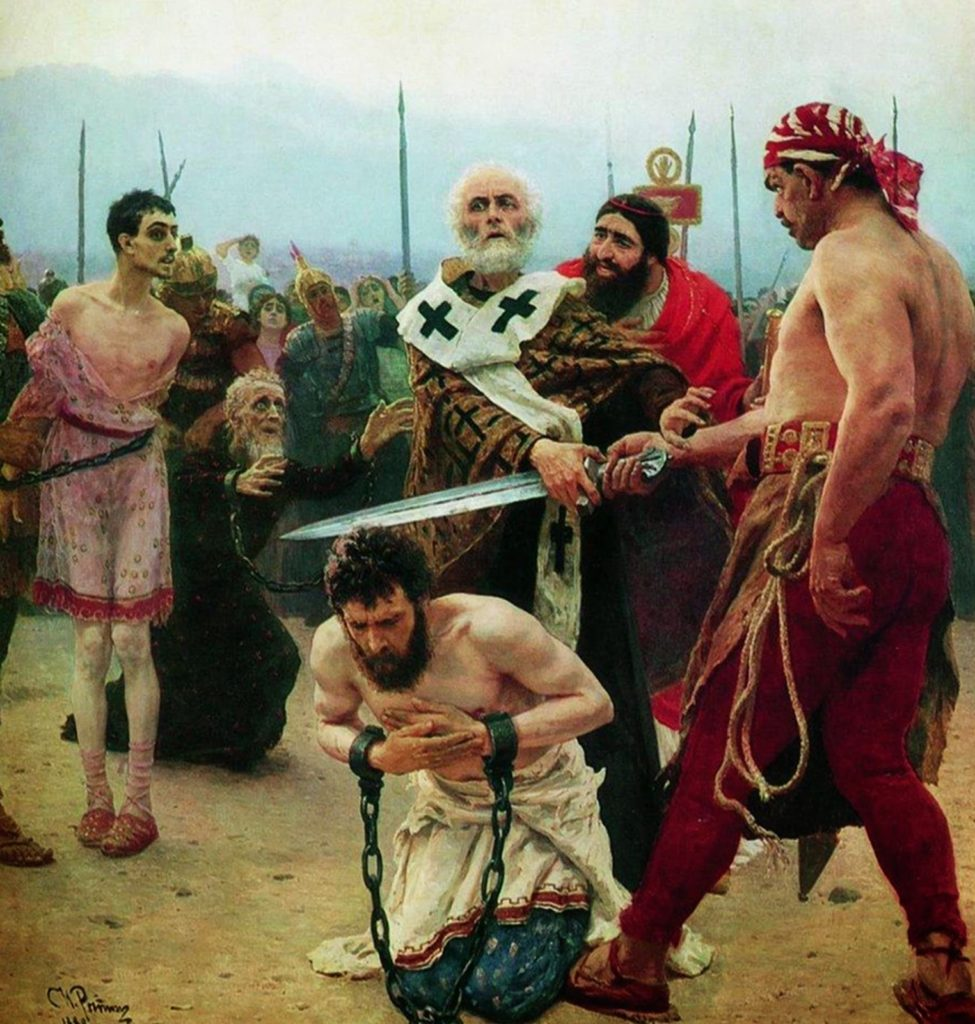 Ilja Jefimowitsch Repin: Myriai Szent Miklós megment három ártatlant c. festménye