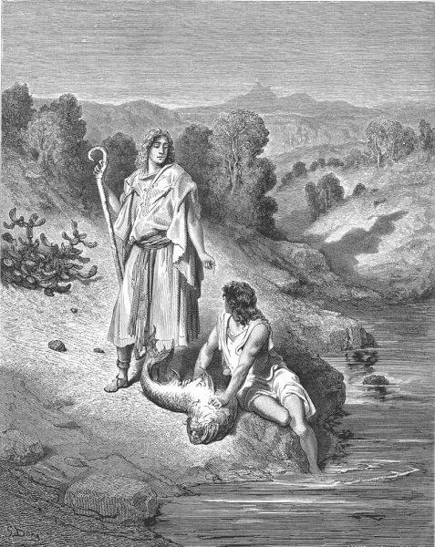 Tóbiás és az Angyal - Gustave Doré rézkarca