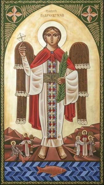 Ráfá'él arkangyal egy kopt ikonon