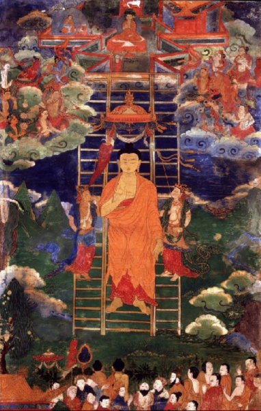 Buddha visszatérése a a Tráyastriṃśa-ból