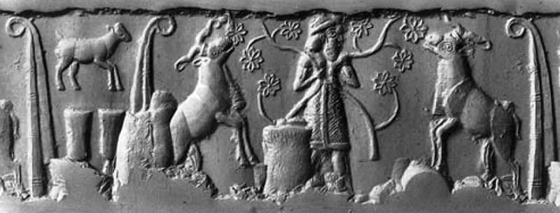 Dumuzi-Tammuz, bal oldalt a Bárány jelképével, életfával