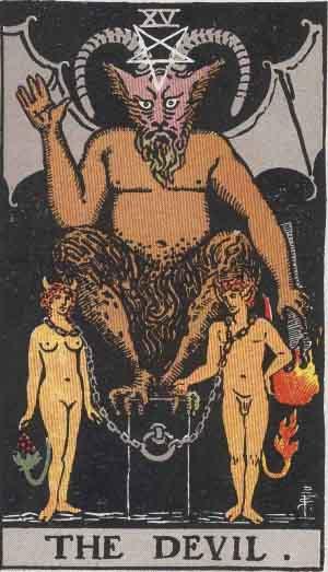 Rider Waite Tarot XV Az Ördög