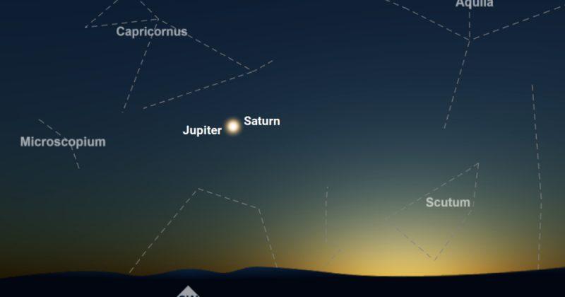 Jupiter és Szaturnusz 2020 decemberében